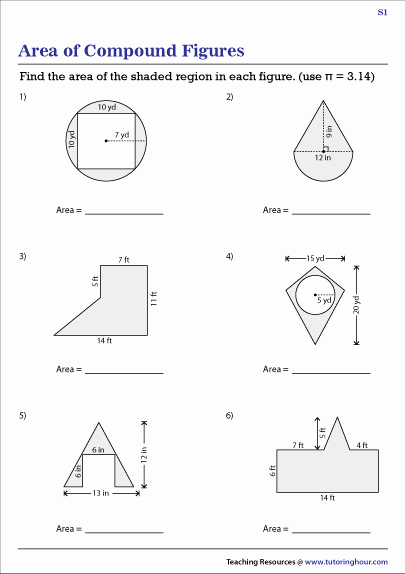 Compound area Worksheets Luxury area Of Posite Shapes Pound Figures Worksheets
