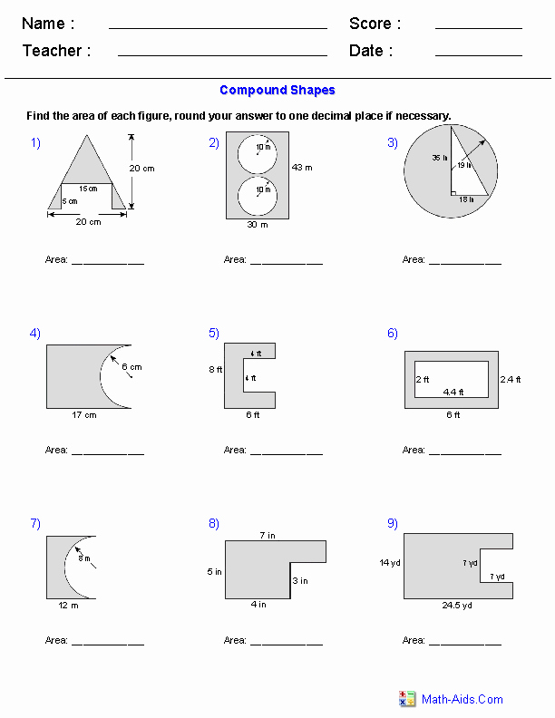 Compound area Worksheets Luxury area Of Pound Shapes Subtracting Regions Worksheets
