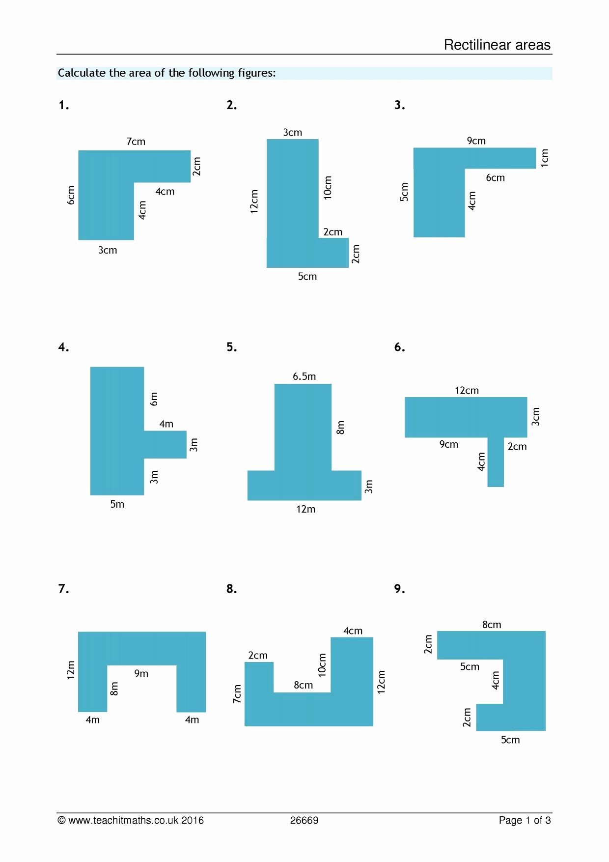Compound area Worksheets Luxury Ks3 area and Perimeter – Pound Shapes