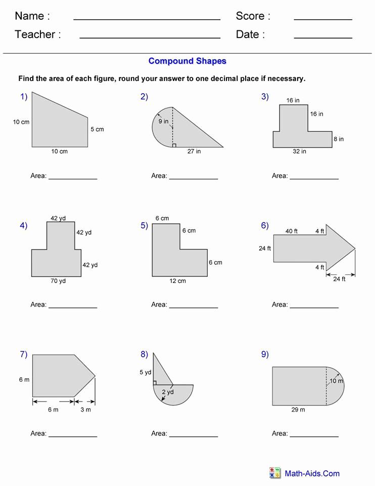 Compound area Worksheets New area Pound Shape Worksheet 1 – Hoeden at Home