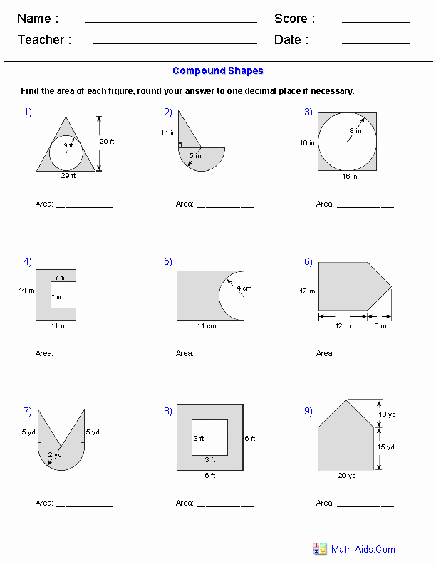 Compound area Worksheets Unique area Of Pound Shapes Adding and Subtracting Regions