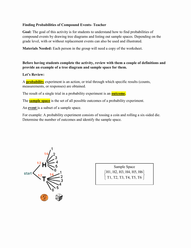 Compound events Worksheets Beautiful Probability Pound events Worksheet with Answer Key