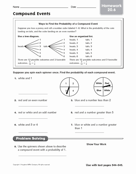 Compound events Worksheets Inspirational Pound events Homework 20 6 Worksheet for 6th 8th