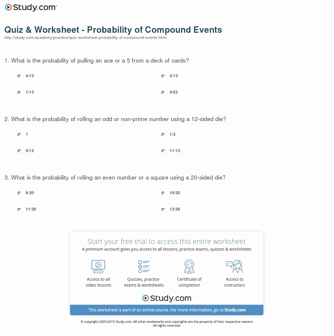 Compound events Worksheets New Probability Pound events Worksheet — Excelguider