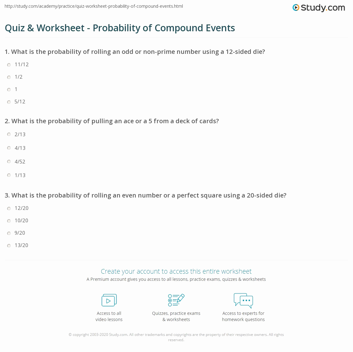 Compound events Worksheets Unique Quiz & Worksheet Probability Of Pound events