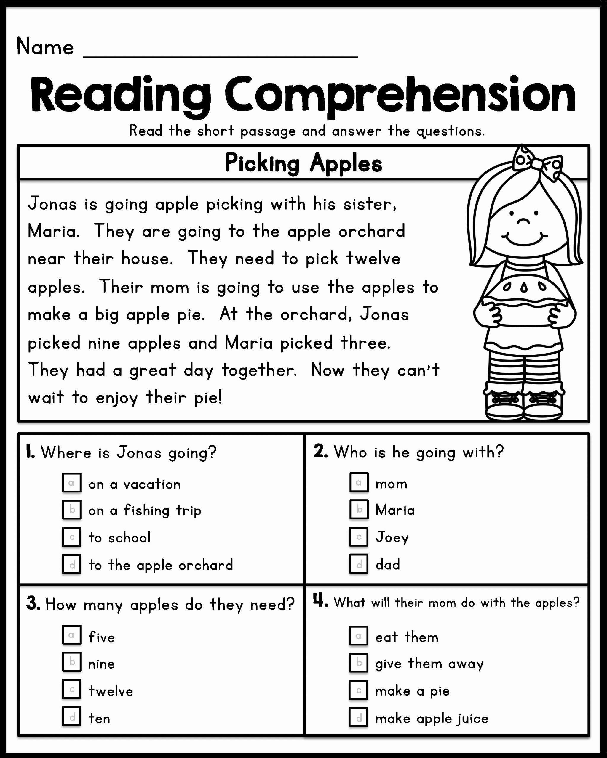 Comprehension Worksheet First Grade Beautiful 12 Good Examples 1st Grade Worksheets Free Download