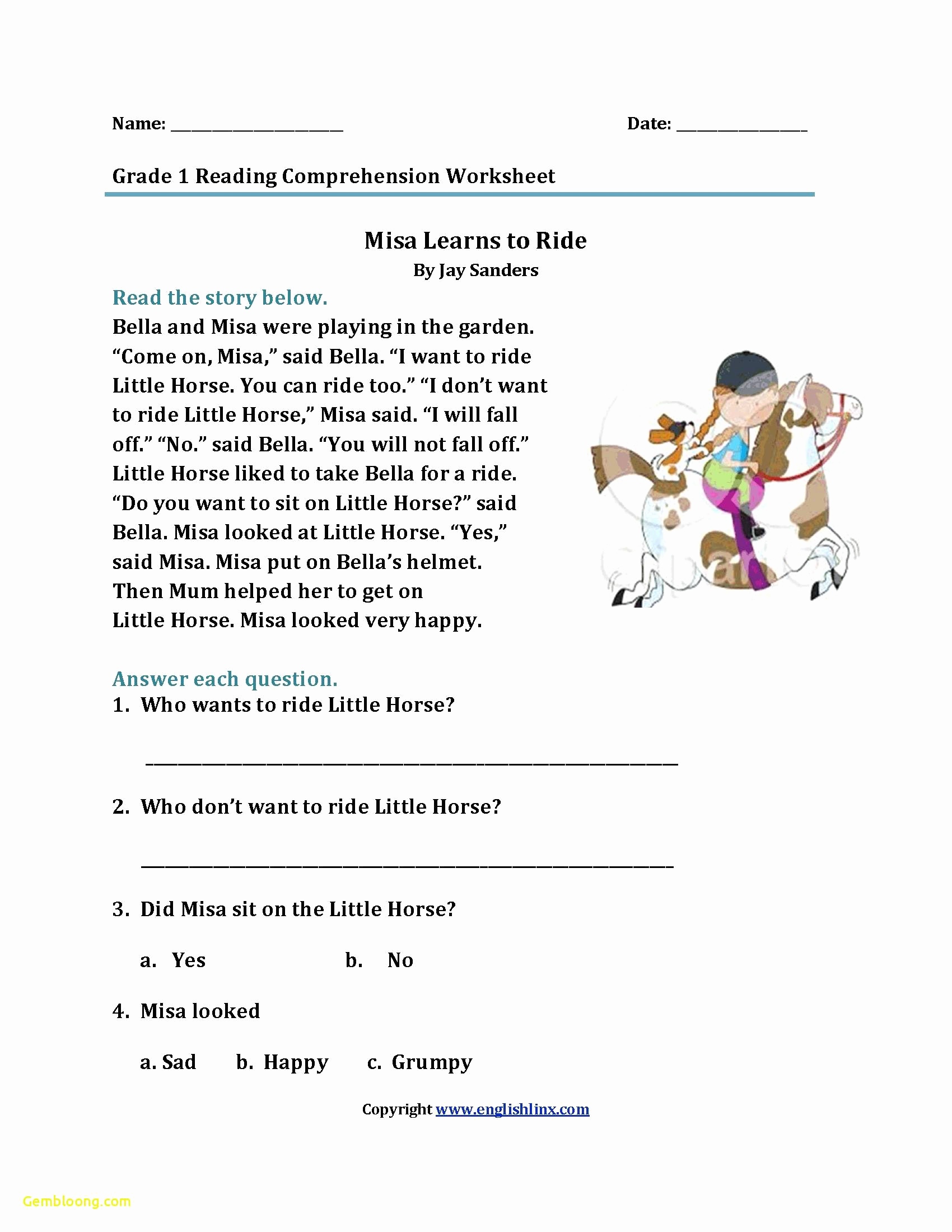 Comprehension Worksheet First Grade Beautiful Reading Prehension Worksheets for 1st Grade — Db Excel