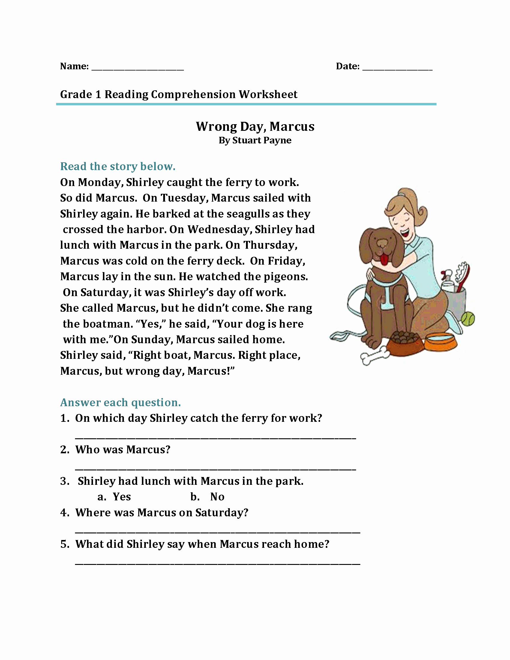 Comprehension Worksheet First Grade Fresh 1st Grade Reading Worksheets Best Coloring Pages for Kids