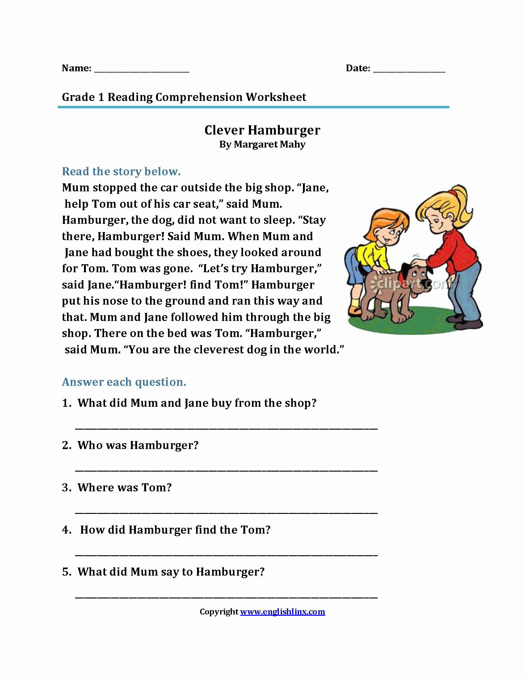Comprehension Worksheet First Grade Inspirational English Prehension Passages for Grade 1 Step by Step