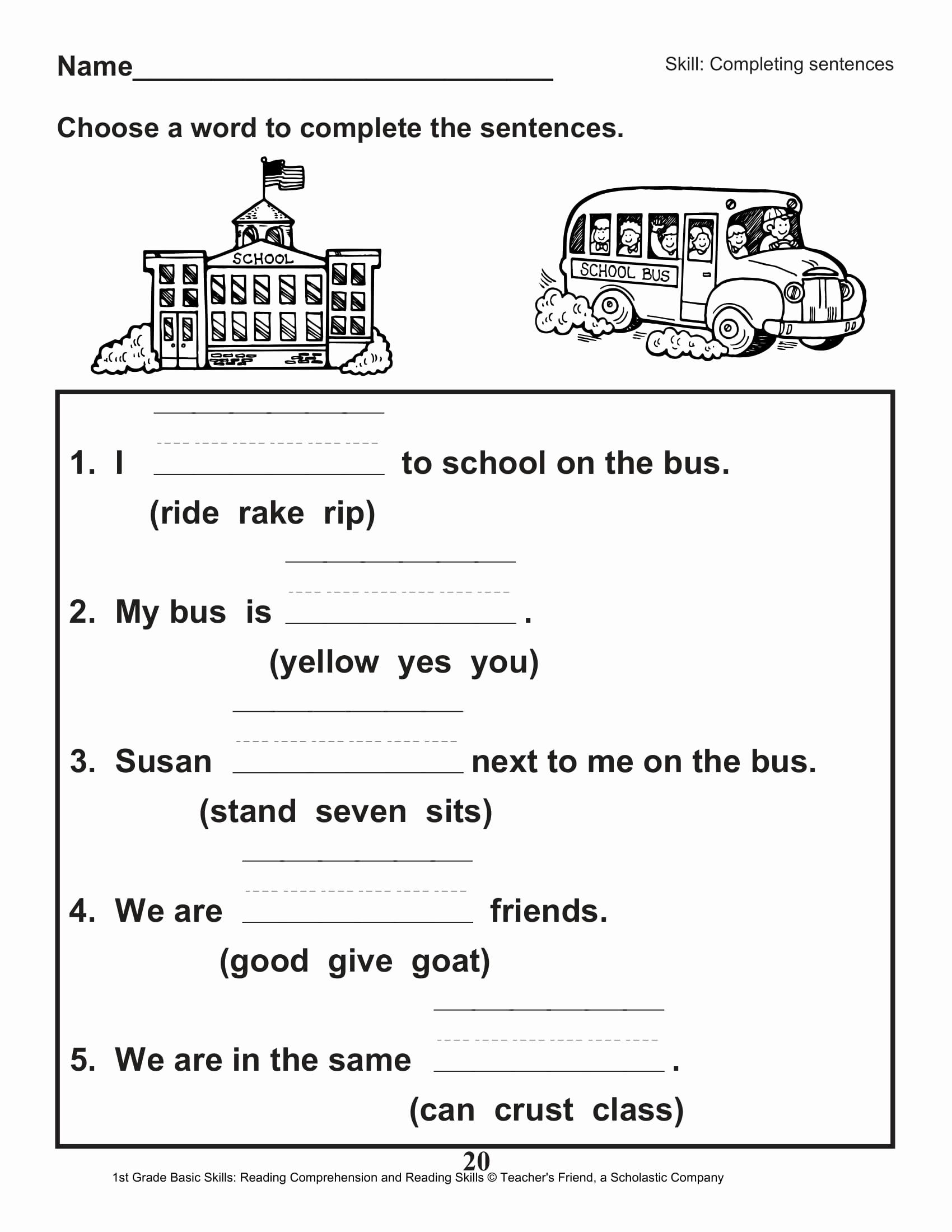 Comprehension Worksheet First Grade Lovely 40 Scholastic 1st Grade Reading Prehension Skills