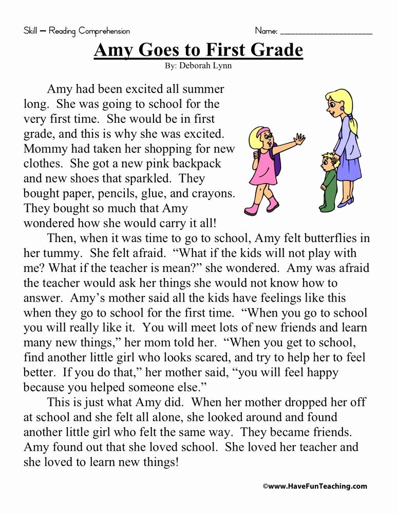 Comprehension Worksheet First Grade Lovely Reading Prehension Worksheet Amy Goes to First Grade