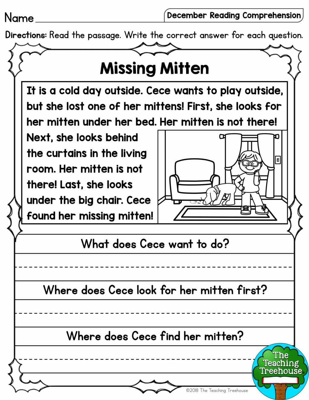 Comprehension Worksheet First Grade Luxury 1st Grade Reading Prehension Worksheets Multiple Choice