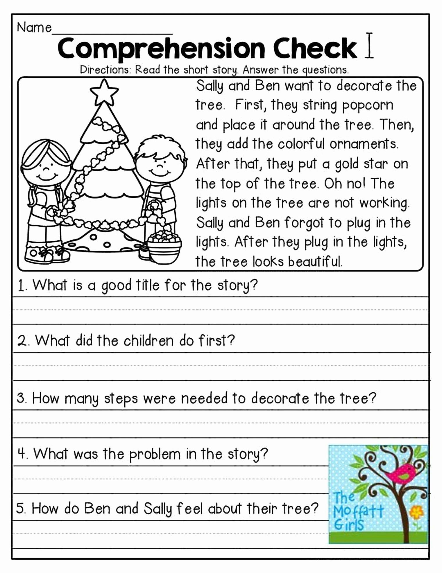 Comprehension Worksheet First Grade Luxury 1st Grade Reading Prehension Worksheets Printable Pdf