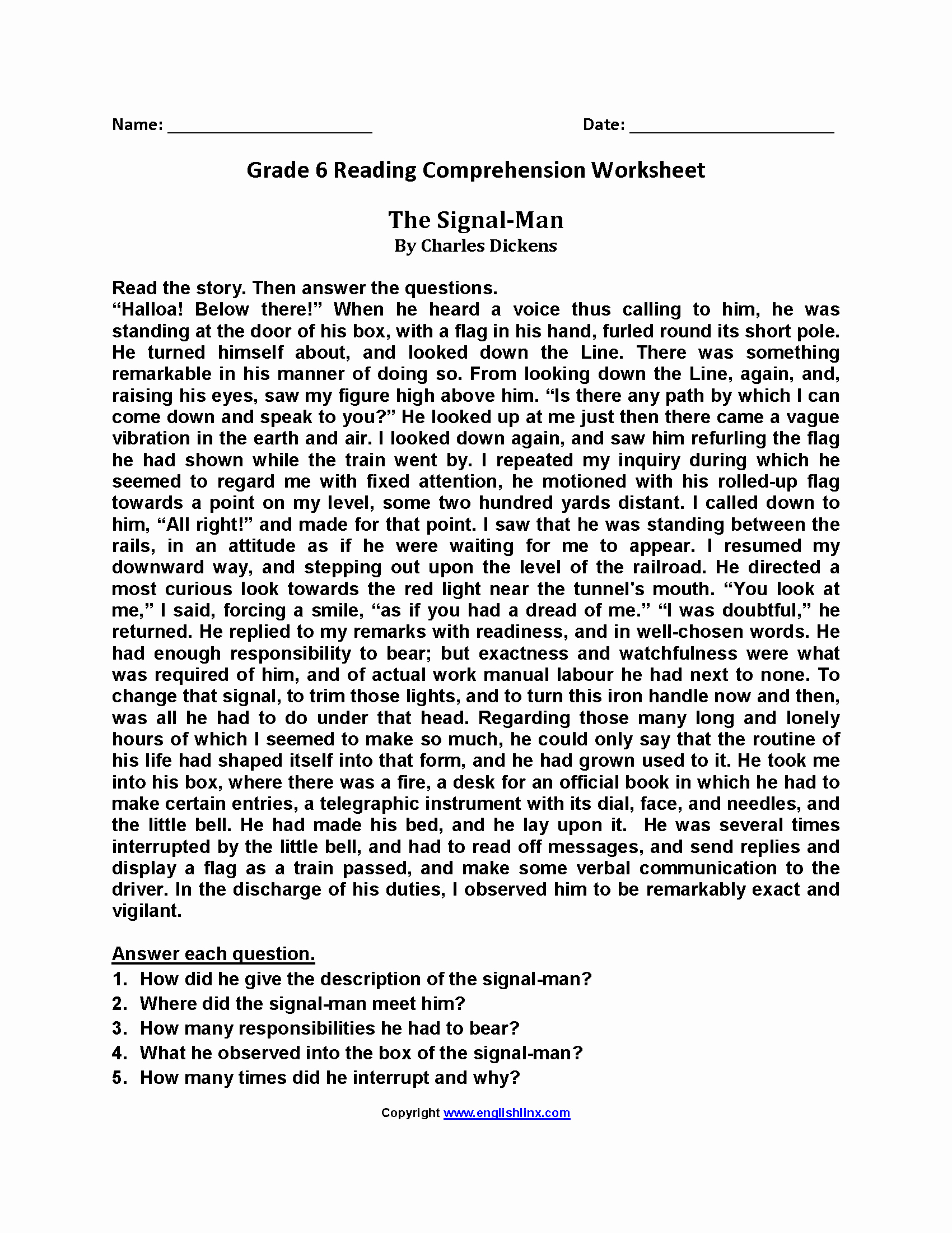 Comprehension Worksheets 6th Grade Best Of 6th Grade Reading Passages