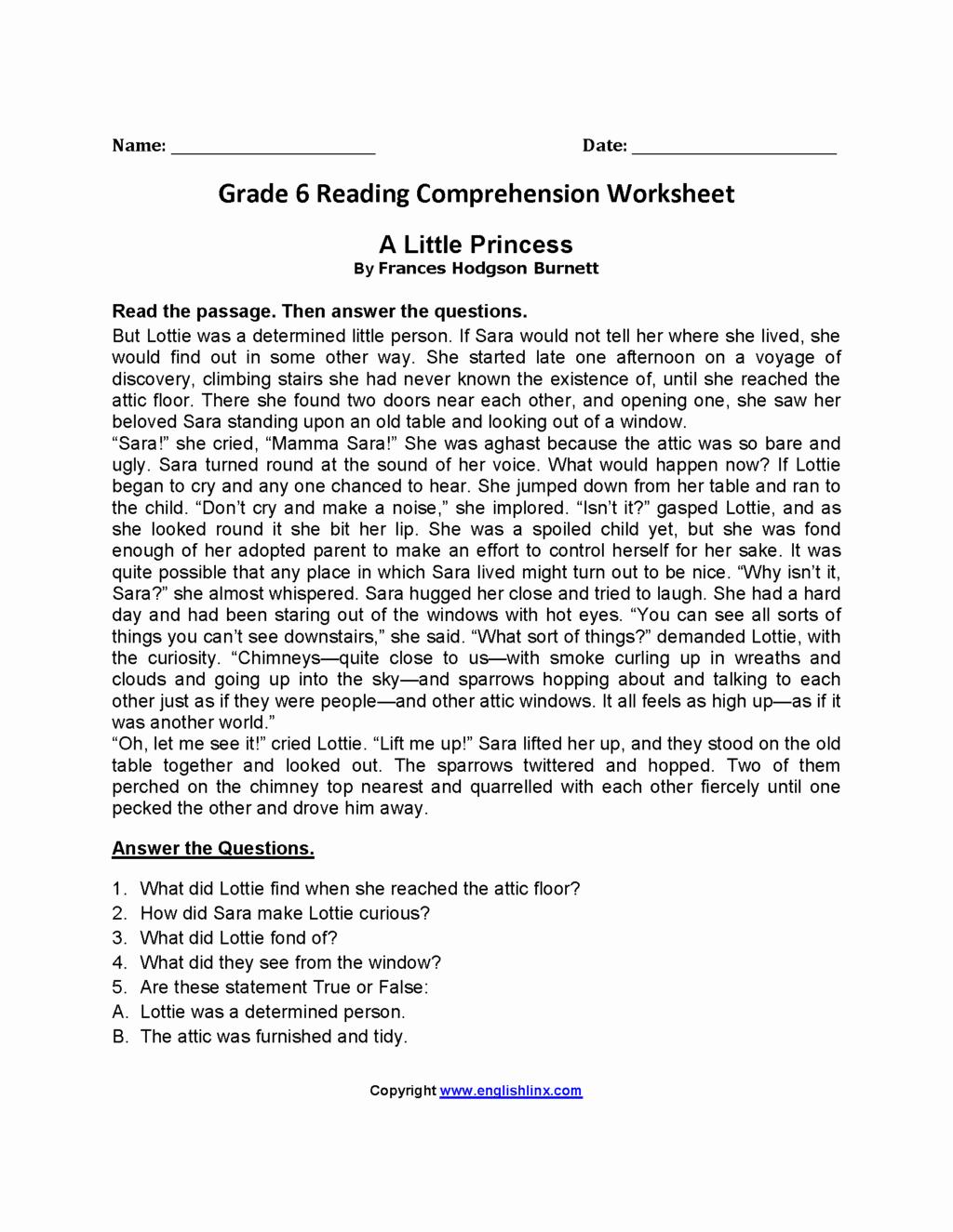 Comprehension Worksheets 6th Grade Elegant 6th Grade Reading Prehension Worksheets Multiple Choice