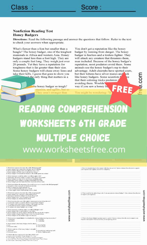 Comprehension Worksheets 6th Grade Elegant Reading Prehension Worksheets 6th Grade Multiple Choice