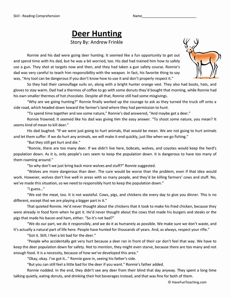 Comprehension Worksheets 6th Grade Inspirational Sixth Grade Reading Prehension Worksheet Deer Hunting
