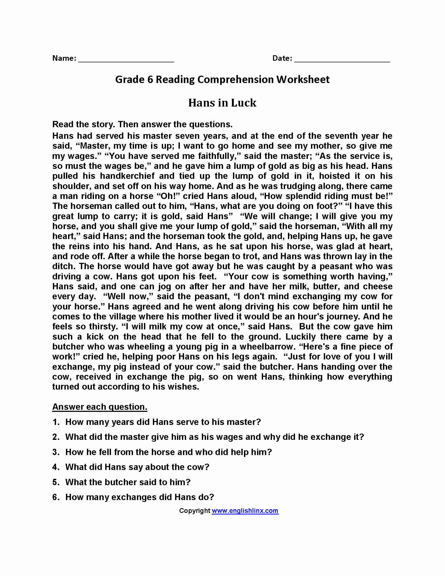 Comprehension Worksheets 6th Grade Luxury 6th Grade Reading Prehension Passages with Multiple