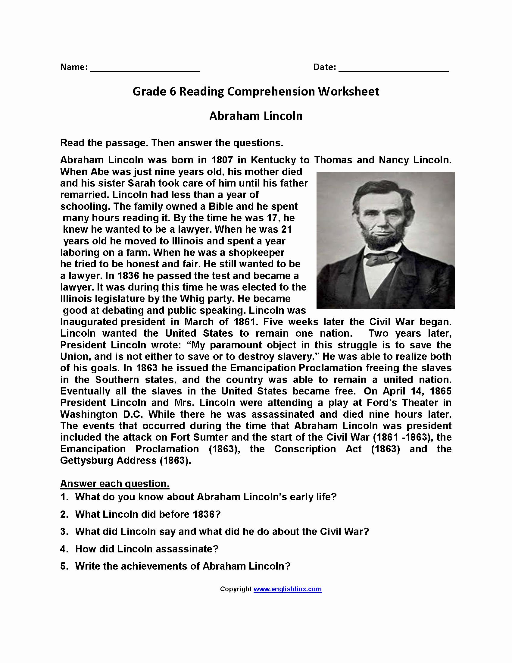 Comprehension Worksheets 6th Grade New 6th Grade Reading Prehension Pdf Multiplyillustration