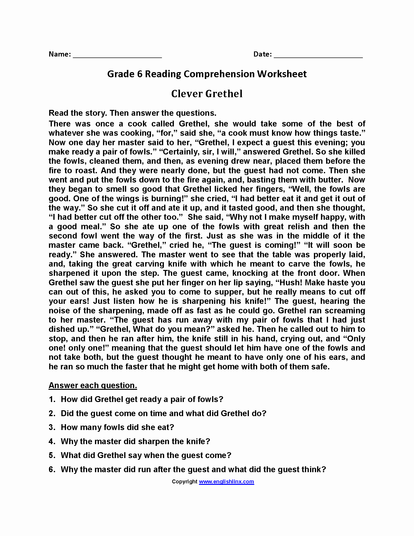 Comprehension Worksheets 6th Grade New English Prehension Worksheet Grade 6 Advance Worksheet