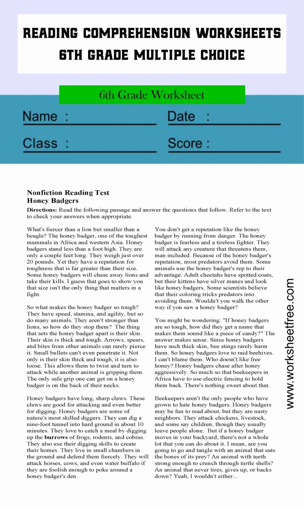 Comprehension Worksheets 6th Grade New Reading Prehension Worksheets 6th Grade Multiple Choice