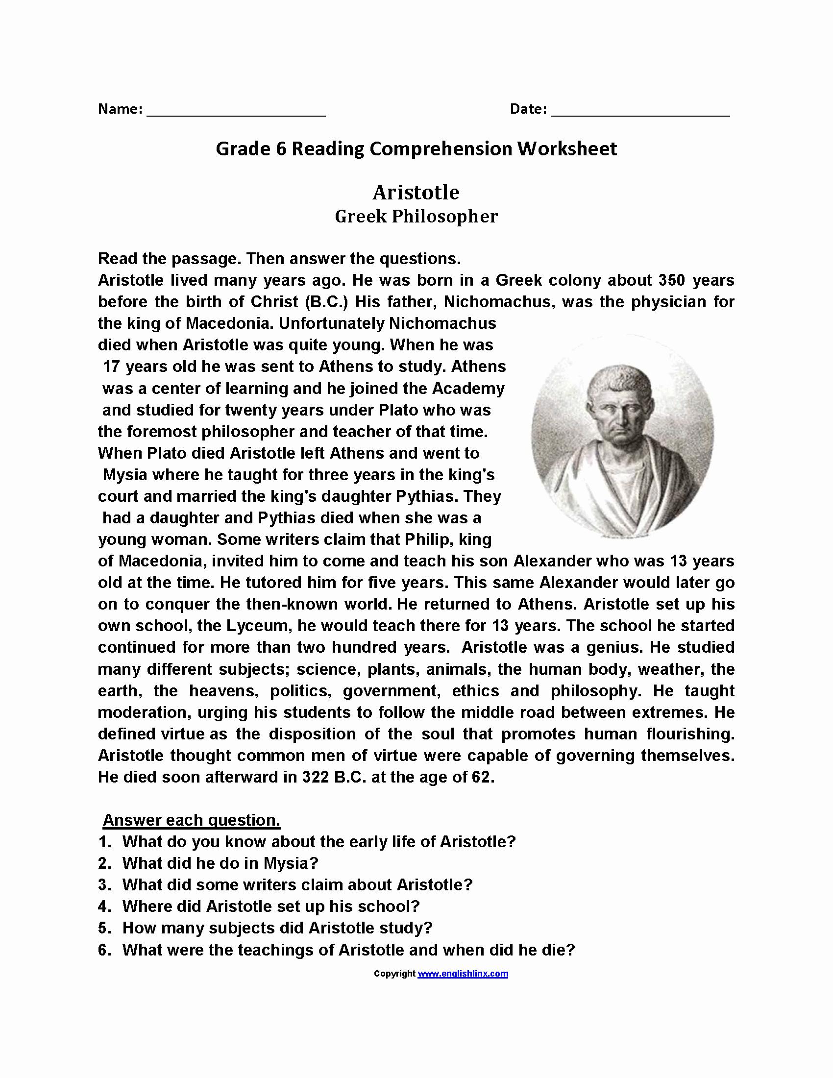 Comprehension Worksheets 6th Grade New Reading Worksheets