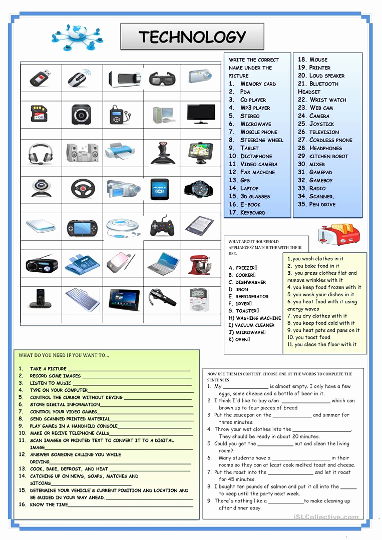 Computer Worksheets for Middle School New Technology Worksheets for Middle School