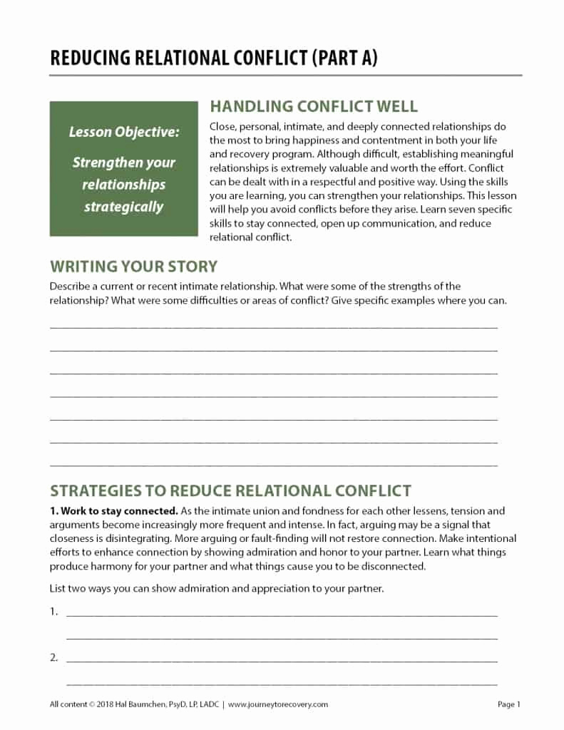 Conflict Worksheets Pdf Best Of Reducing Relational Conflict Part A Cod Worksheet