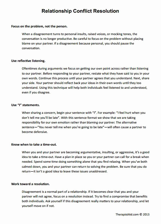 Conflict Worksheets Pdf Elegant Conflict Resolution Worksheet for Adults – Template Library