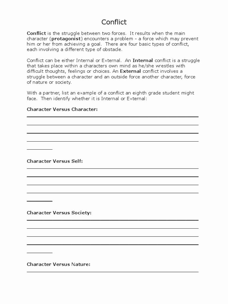 Conflict Worksheets Pdf Luxury Conflict Worksheet