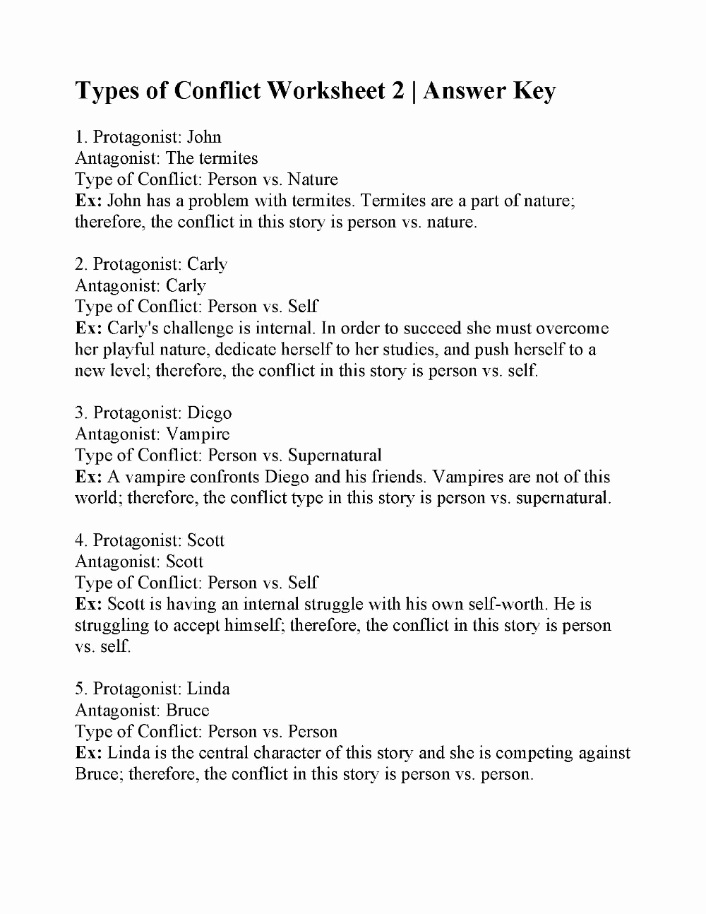 Conflict Worksheets Pdf New Types Of Conflict Worksheet 2 Answers