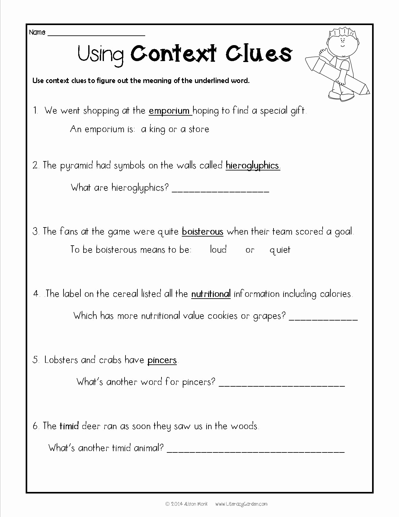 Context Clues 5th Grade Worksheets Beautiful Free Printable Context Clues Worksheets