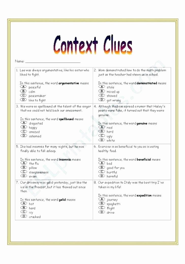 Context Clues 5th Grade Worksheets Inspirational 5th Grade Context Clues Worksheets Lesson Context Clues