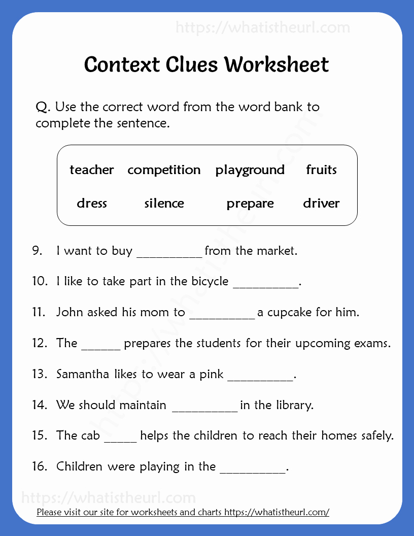Context Clues 5th Grade Worksheets New Context Clues Worksheet for Grade 5 Your Home Teacher
