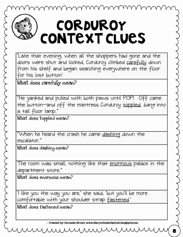 Context Clues Worksheets 1st Grade Best Of Context Clues Worksheets 4th Grade In 2020