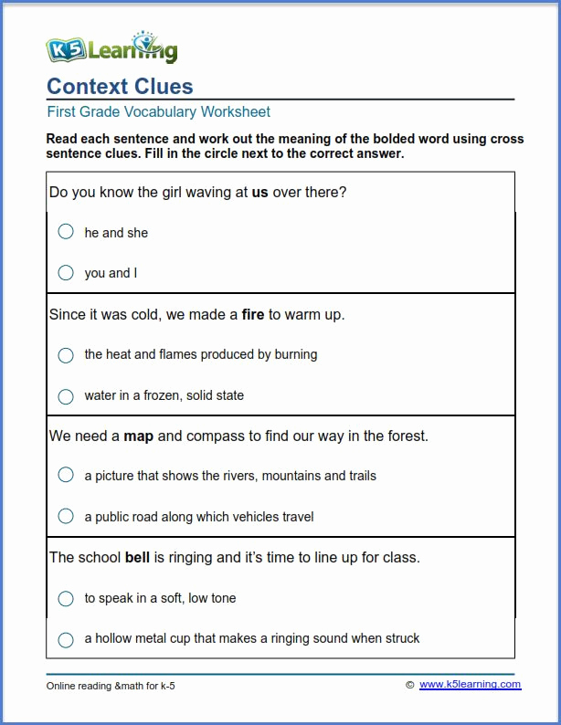 Context Clues Worksheets 1st Grade Luxury 1st Grade Context Clues Worksheets Pdf thekidsworksheet