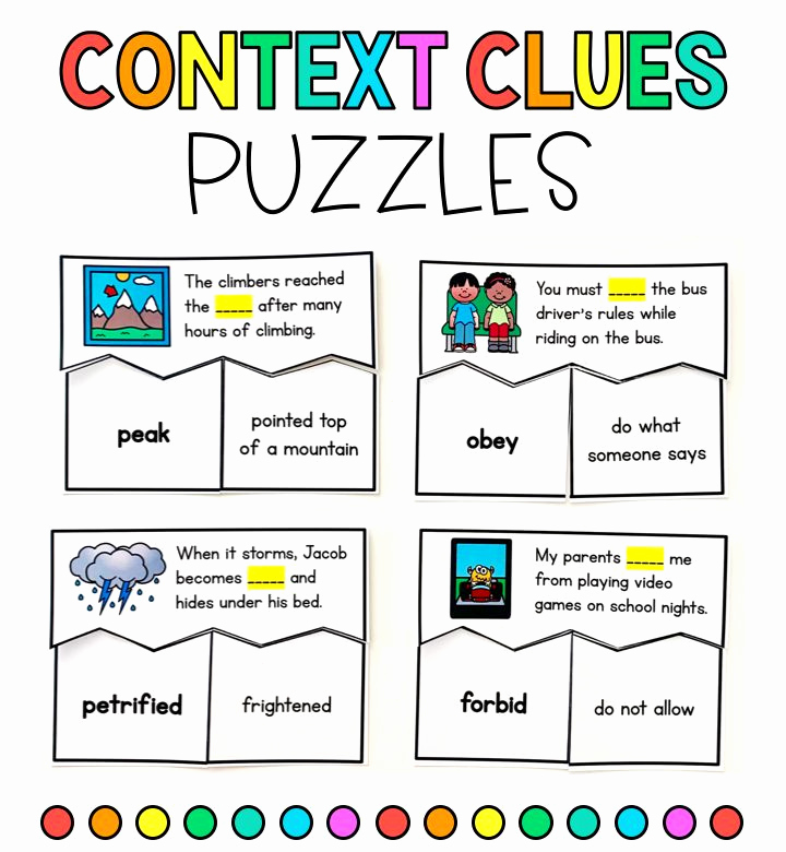 Context Clues Worksheets 1st Grade Luxury Context Clues Puzzles Unfamiliar Words