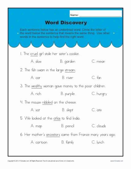 Context Clues Worksheets Second Grade Elegant Context Clues Worksheets for 2nd Grade