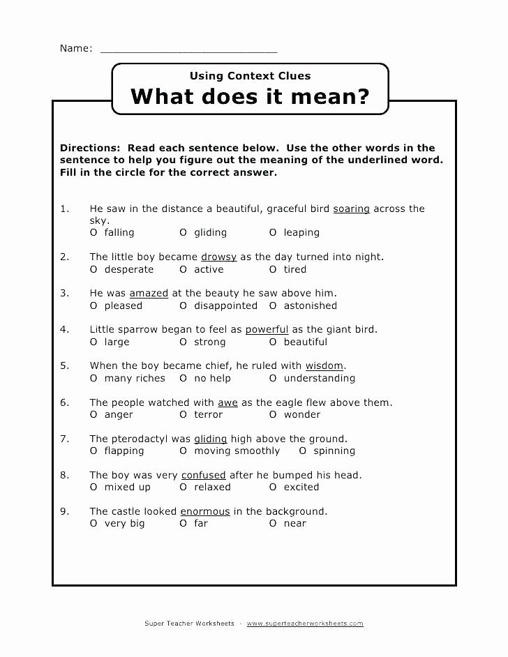 Context Clues Worksheets Second Grade Fresh 38 Interesting Context Clues Worksheets