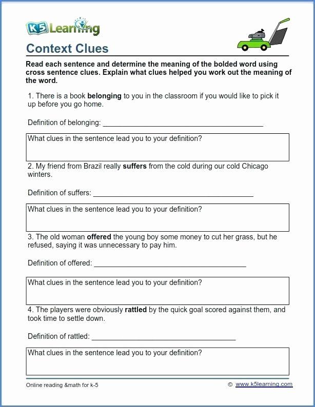 Context Clues Worksheets Second Grade Inspirational Context Clues Worksheets Second Grade Context Clues
