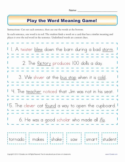 Context Clues Worksheets Second Grade New Play the Word Meaning Game