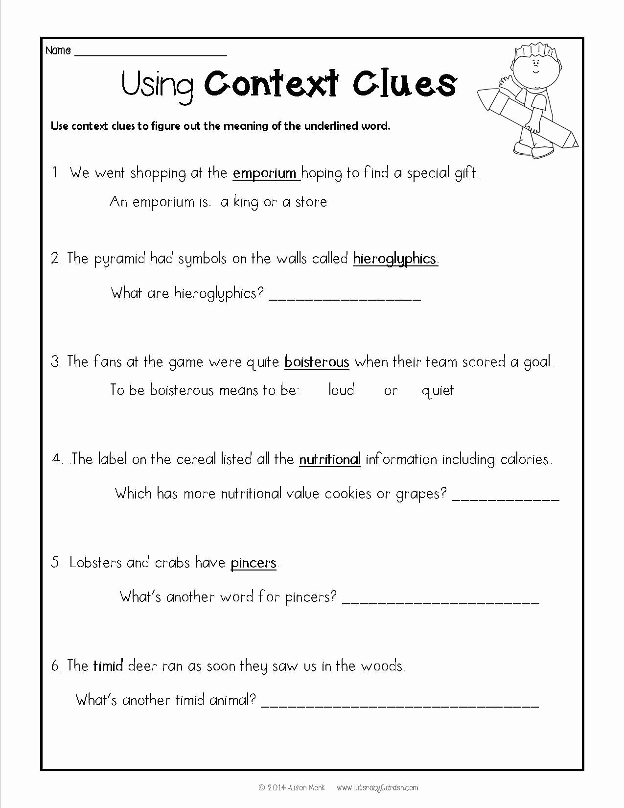 Context Clues Worksheets Second Grade Unique Context Clues Donovan S Word Jar