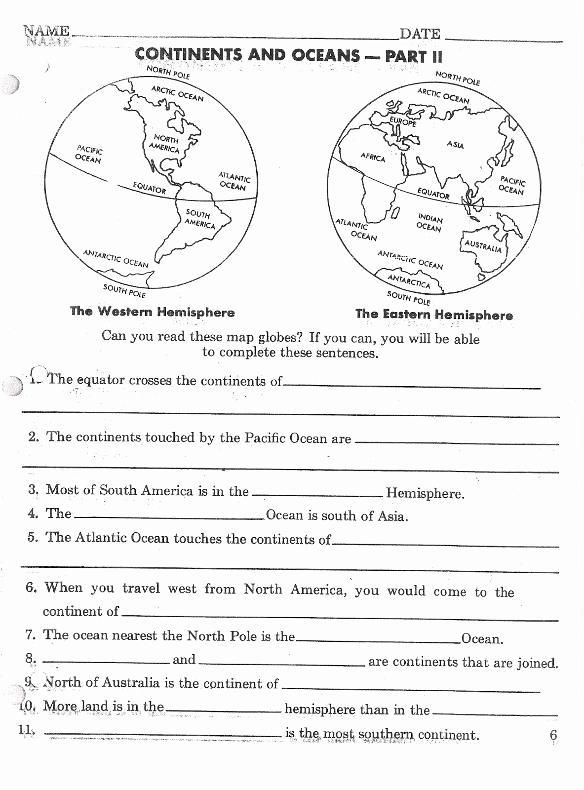 Continents and Oceans Worksheet Printable Awesome Mr Stanton S social Stu S September 2013