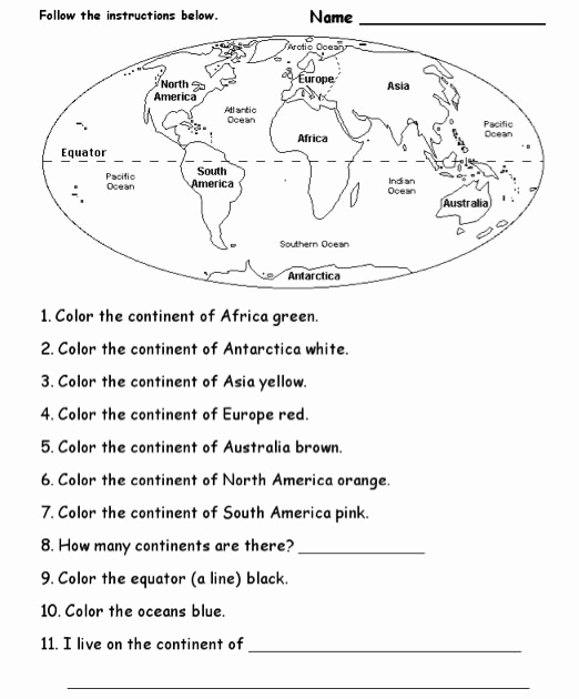 Continents and Oceans Worksheet Printable Best Of Blank Continents and Oceans Worksheets