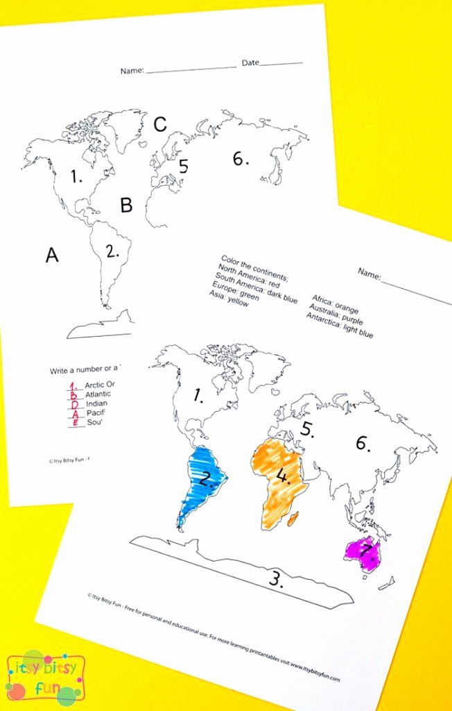 Continents and Oceans Worksheet Printable Best Of Continents and Oceans Printable Worksheets Continents and