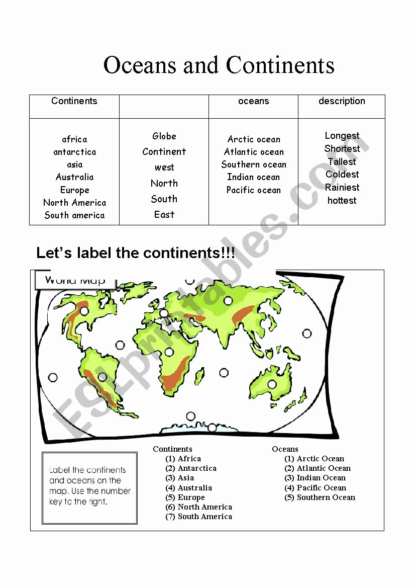 Continents and Oceans Worksheet Printable Fresh Continents and Oceans Esl Worksheet by Projectgenesis