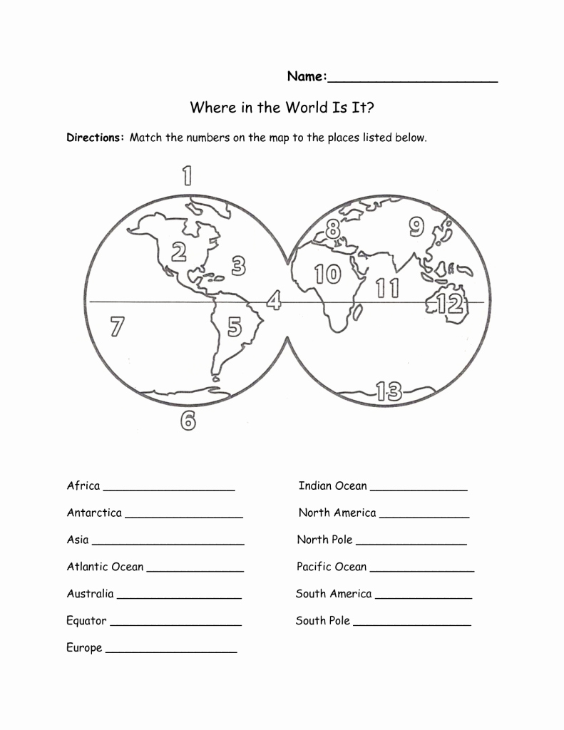 Continents and Oceans Worksheet Printable Fresh Printable Map Oceans and Continents