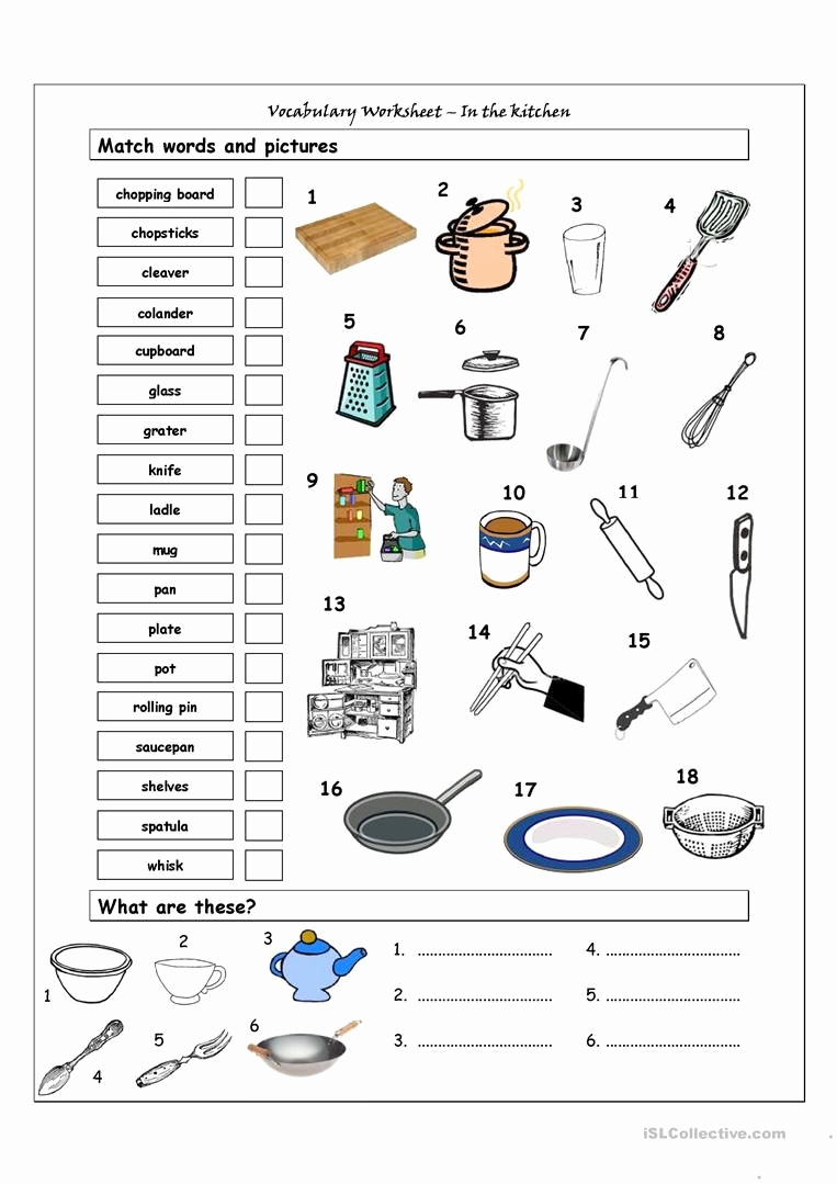 Cooking Worksheets for Middle School Beautiful Vocabulary Matching Worksheet In the Kitchen
