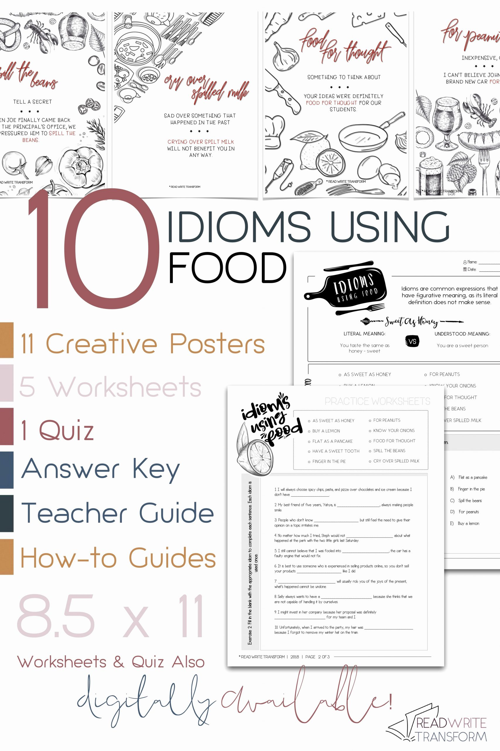 Cooking Worksheets for Middle School Elegant 10 Idioms Using Food Posters Worksheets Quiz Digital