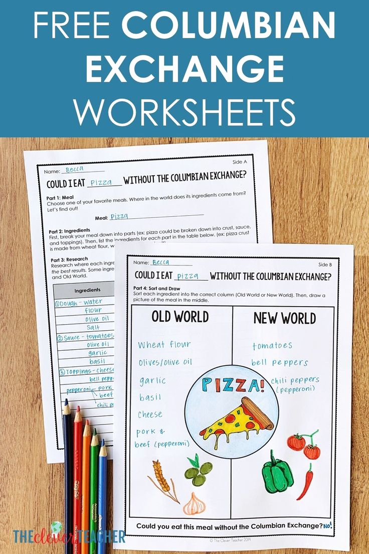 Cooking Worksheets for Middle School Fresh Columbian Exchange Food Activity Free Worksheets